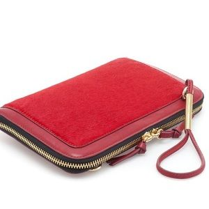 Red Leather and Calf-Hair Clutch/Crossbody